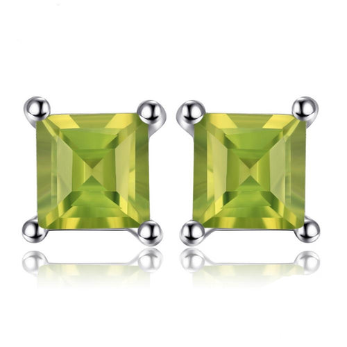 925 Sterling Silver Natural Peridot Sterling Silver Stud Earrings - Innovato Store