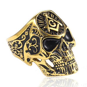 Full Skull Head with Masonic Symbol Punk Ring - Innovato Store