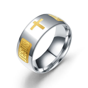 Pious Titanium 8mm Silver and Gold Toned Men's Christian Jesus Cross Wedding Band