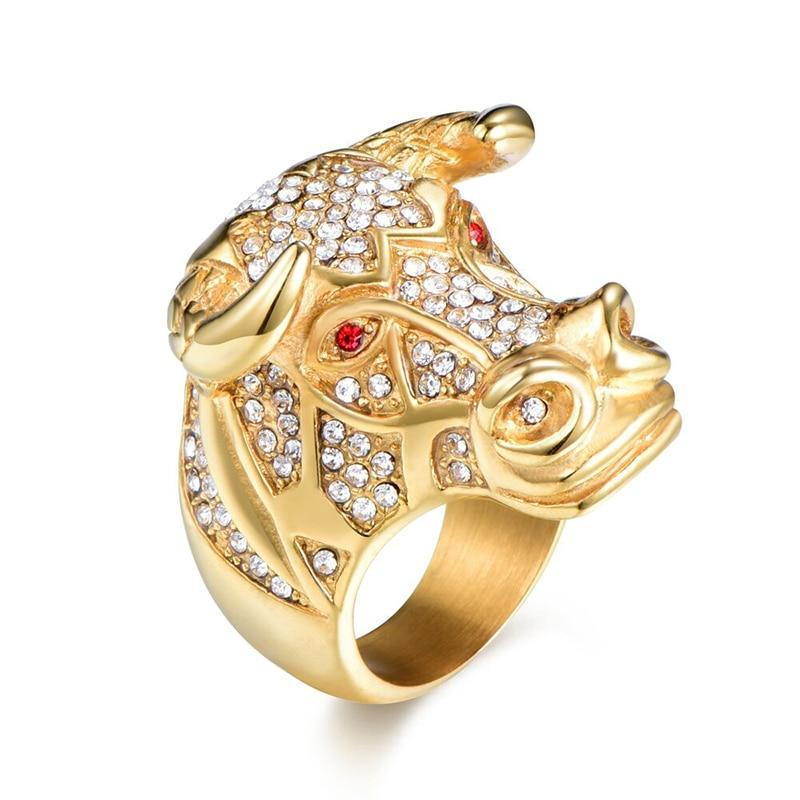 Hip Hop Bull's Head Ring with Two Red Rhinestones and Multiple CZ Stones - Innovato Store