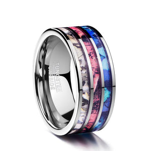 Three-in-One Opal Inlay with Silver Plated Tungsten Carbide Fashion Ring