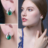 925 Sterling Silver Green Water Drop Created Emerald Earrings - Innovato Store