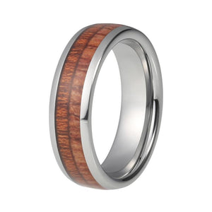 6mm Dome Shape Wood Inlay with Silver Edges Ring