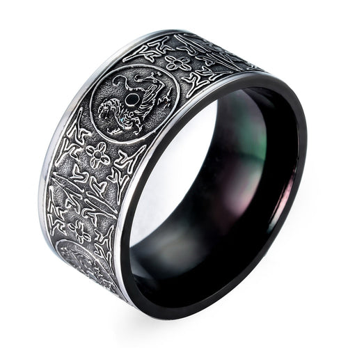 10mm Black and Silver Tone Stainless Steel Men's Patron Saint Viking Wedding Band