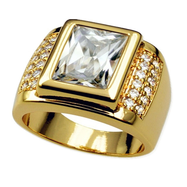 Bohemian Themed Gold-Toned Stainless Steel Unisex Big Stone Geometric Square Design with Crystals Ring - Innovato Store