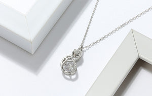 925 Sterling Silver Crystal Fox Pendant Necklace for Women