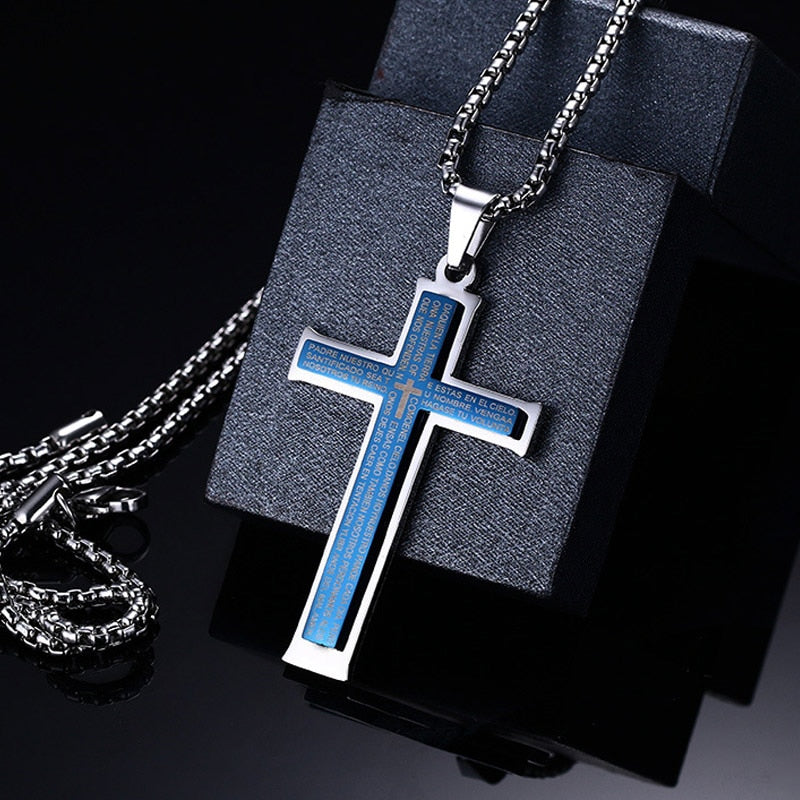 Lords Prayer Engraved Stainless Steel Blue Cross Pendant Necklace