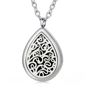 Silver Teardrop Essential Oil Diffuser Locket Perfume Necklace