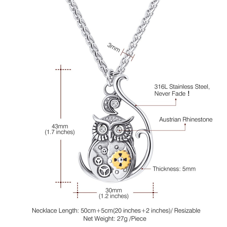 Steampunk Owl Pendant Necklace Mechanical Gear