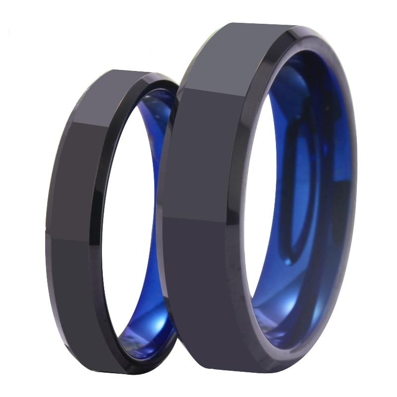 4mm & 6mm Polished Black & Blue Tungsten Carbide Wedding Band