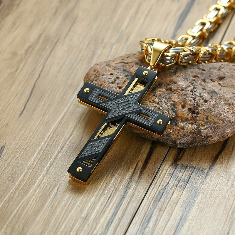 Black & Gold Lord's Prayer Cross Pendant with Byzantine Link Chain Necklace