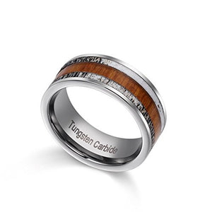 8mm Tungsten Carbide Wedding Ring for Men with Natural Wood and Two Pieces of Deer Antler Inlay - Innovato Store