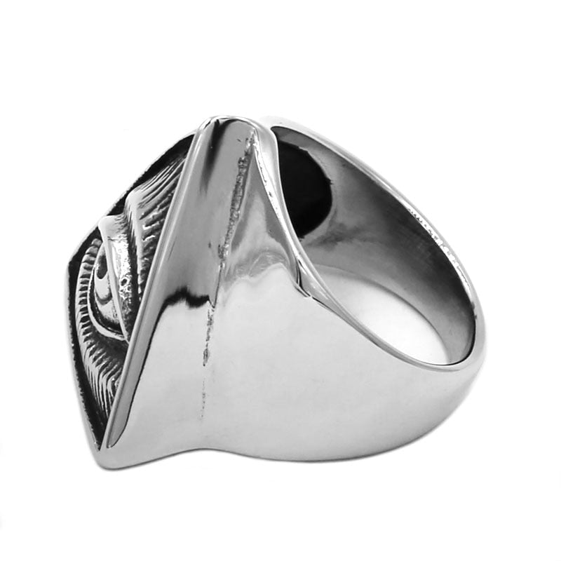 Stainless Steel All Seeing Eye Pyramid Masonic Ring