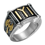 16.5mm Dual Tone Stainless Steel and Titanium Ottomans Seal Vintage Star Moon Men's Rings - Innovato Store