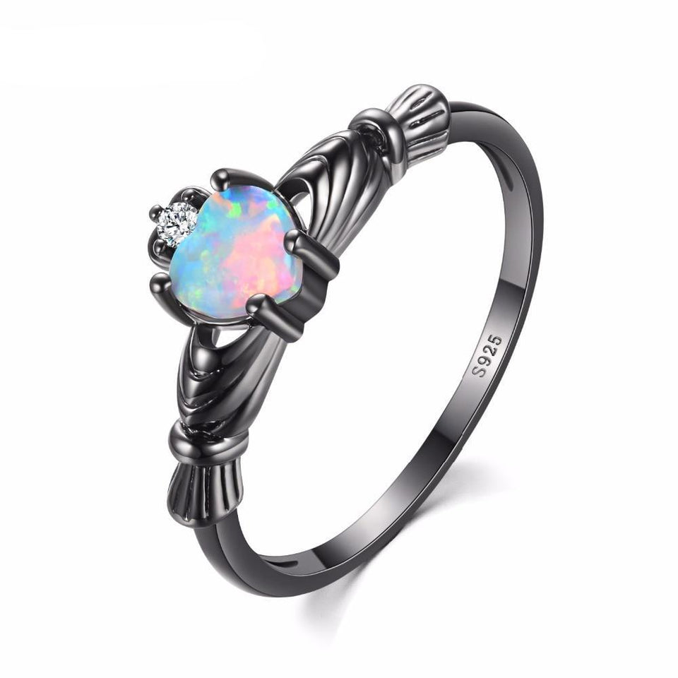 Vintage Design Black Color Copper Wedding Band Ring for Women with Fire Opal Heart and Clear Zircon