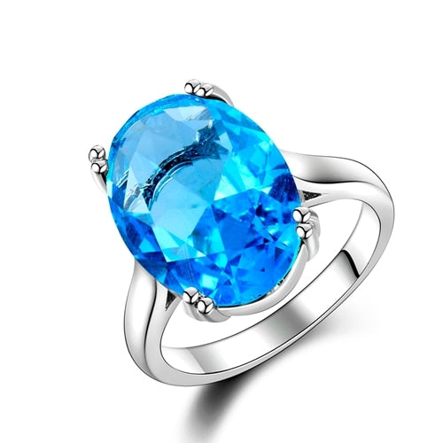 925 Sterling Silver with Aquamarine Water Drop Shape Birthstone Boho Hollow Women's Engagement Ring - Innovato Store