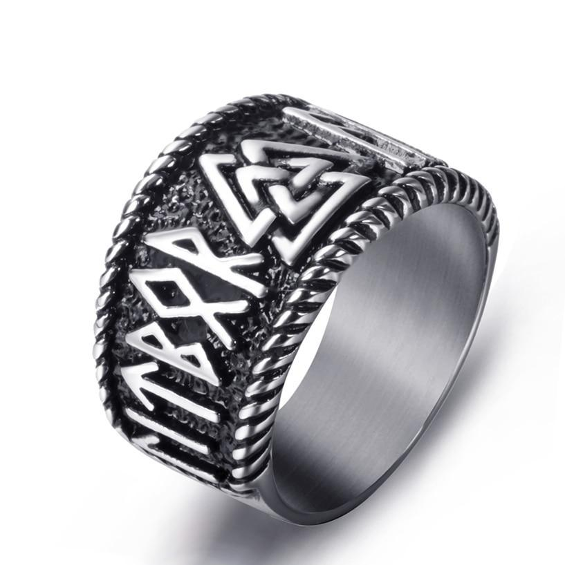 Men's Stainless Steel Ancient Viking Odin Symbol Text Vintage Ring - Innovato Store