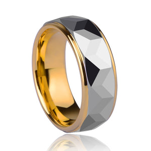 8mm Gold-Plated Inside and Silver Tone Prism Outside Tungsten Unisex Wedding Ring - Innovato Store