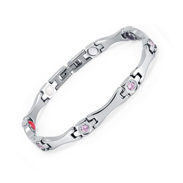 Silver Plated, Pink CZ Magnetic Bracelet