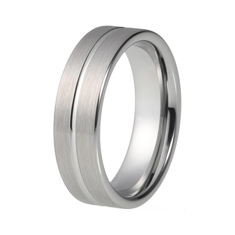 6mm Silver Brushed Matte Tungsten Carbide Ring Wedding / Engagement Band - Innovato Store