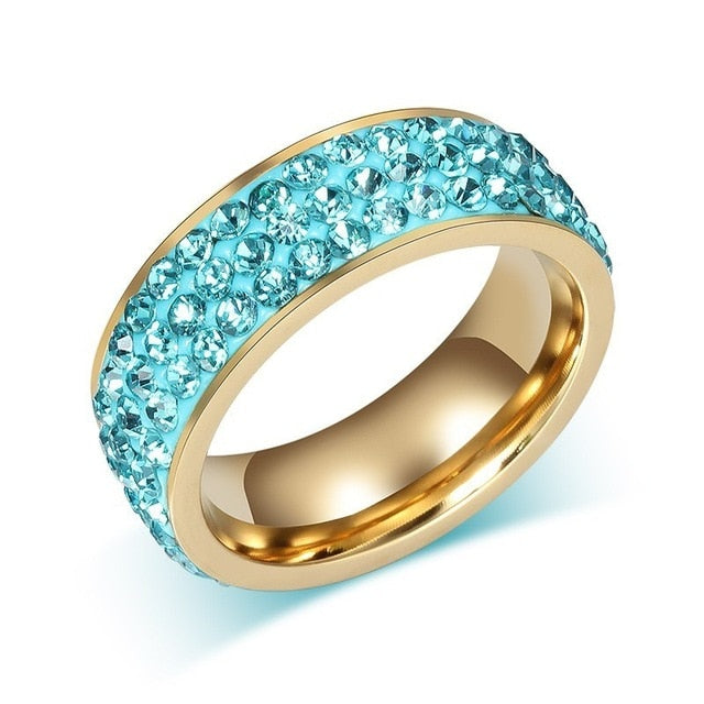 Gold Stainless Steel with Blue Inlay and Cubic Zirconia Crystals Ring - Innovato Store
