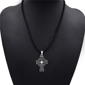 Men's Irish Cross with Celtic Knot and Cubic Zirconia Pendant Necklace