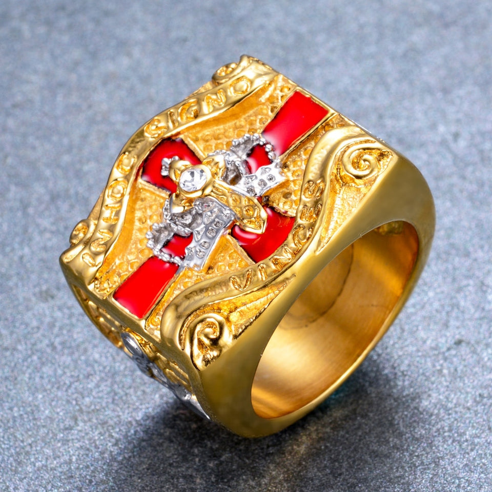 Knight Templar Gold Plated Cross and Crown Ring - Innovato Store