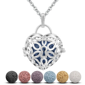 Heart Lock Aromatherapy Lava Pendant Necklace