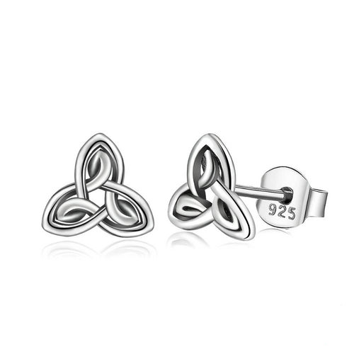 925 Sterling Silver Triquetra Celtics Knot Stud Earrings