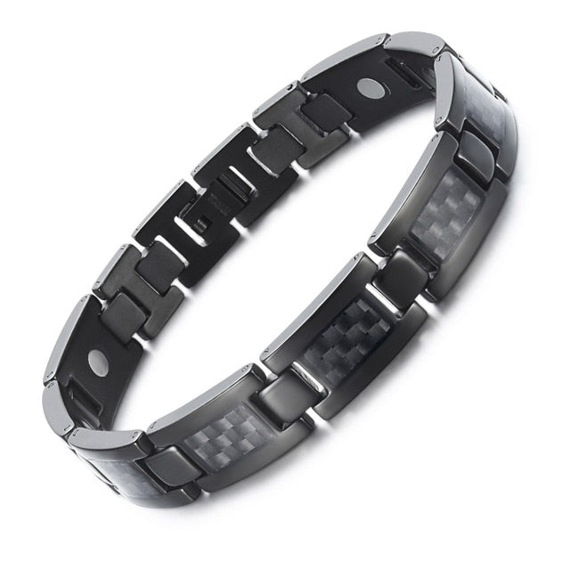 Unisex Titanium Magnetic Bracelet with Carbon Fiber