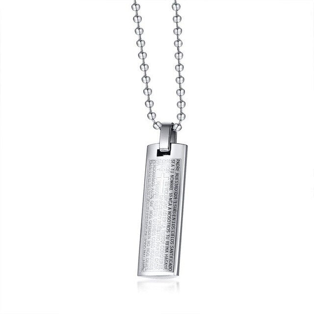 Stainless Steel The Lords Prayer Pendant Necklace