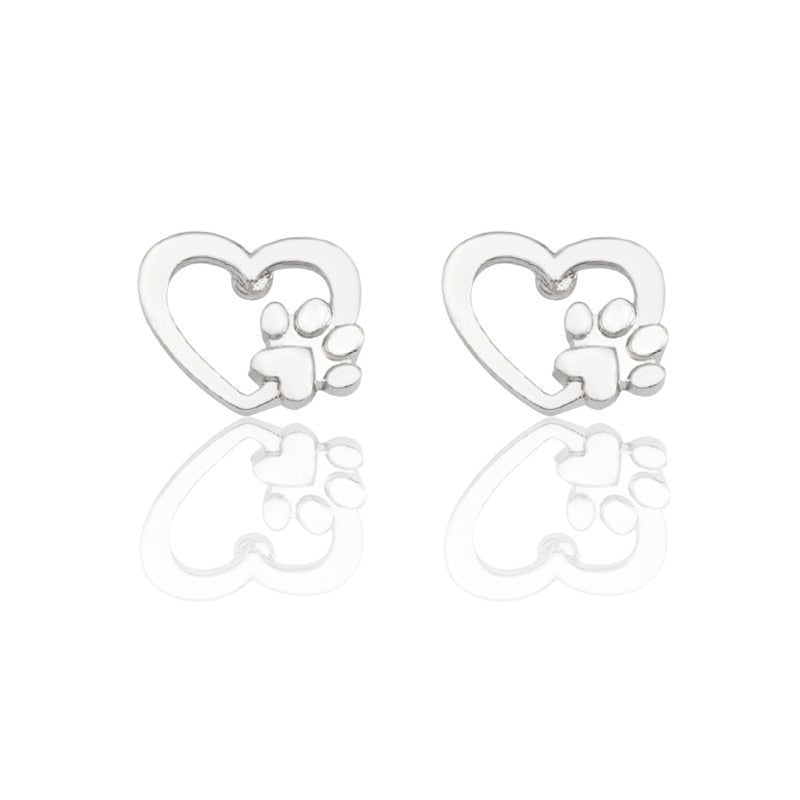 Heart with Paw Stud Earrings Women's Jewelry