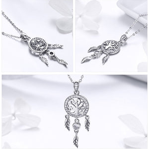 925 Sterling Silver Tree of Life Dream Catcher Pendant Necklace