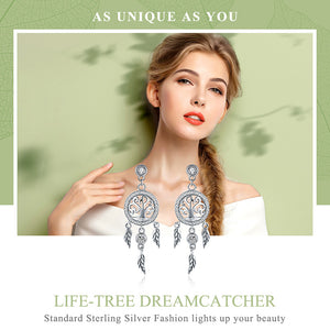 925 Sterling Silver Tree of Life Dream Catcher Drop Earrings