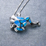 Blue Opal Frog 925 Sterling Silver Pendant Necklace