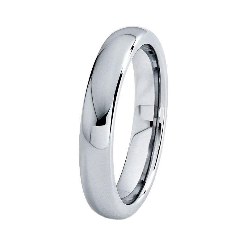 Women Silver Plated Tungsten Dome Shape Wedding Band