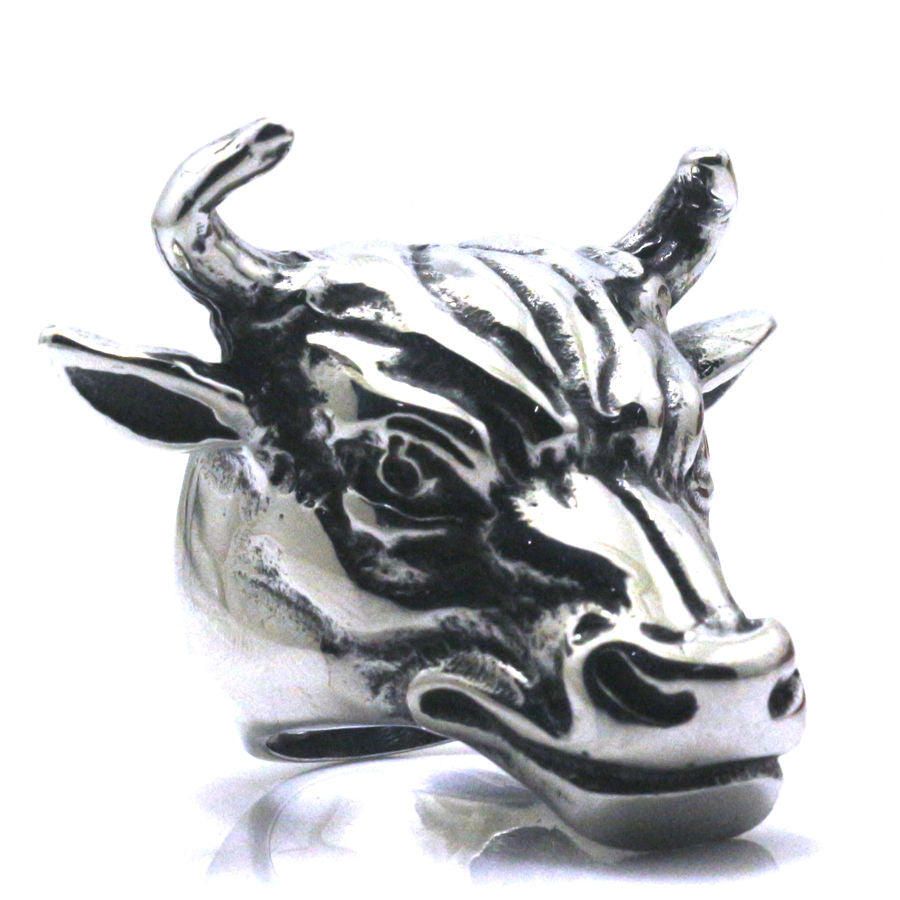 316L Stainless Steel Bull Animal Ring for Men