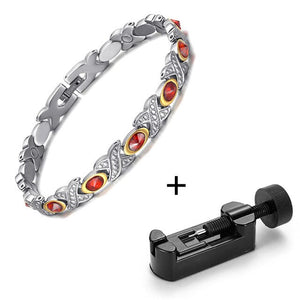 Silver, X Magnetic Bracelet with Purple CZ for Women