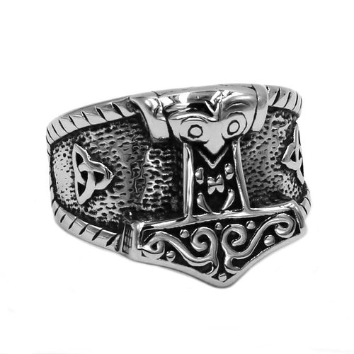 Silver and Ebony Accented Stainless Steel Tribal Thor's Hammer Men's Ring