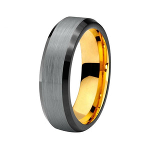 8mm Black Tungsten Carbide with Silver Matte Center and Yellow Gold Plated Ring - Innovato Store