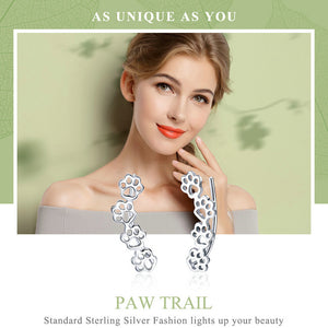 925 Sterling Silver Dog's Paw Trail Stud Earrings Women's Jewelry