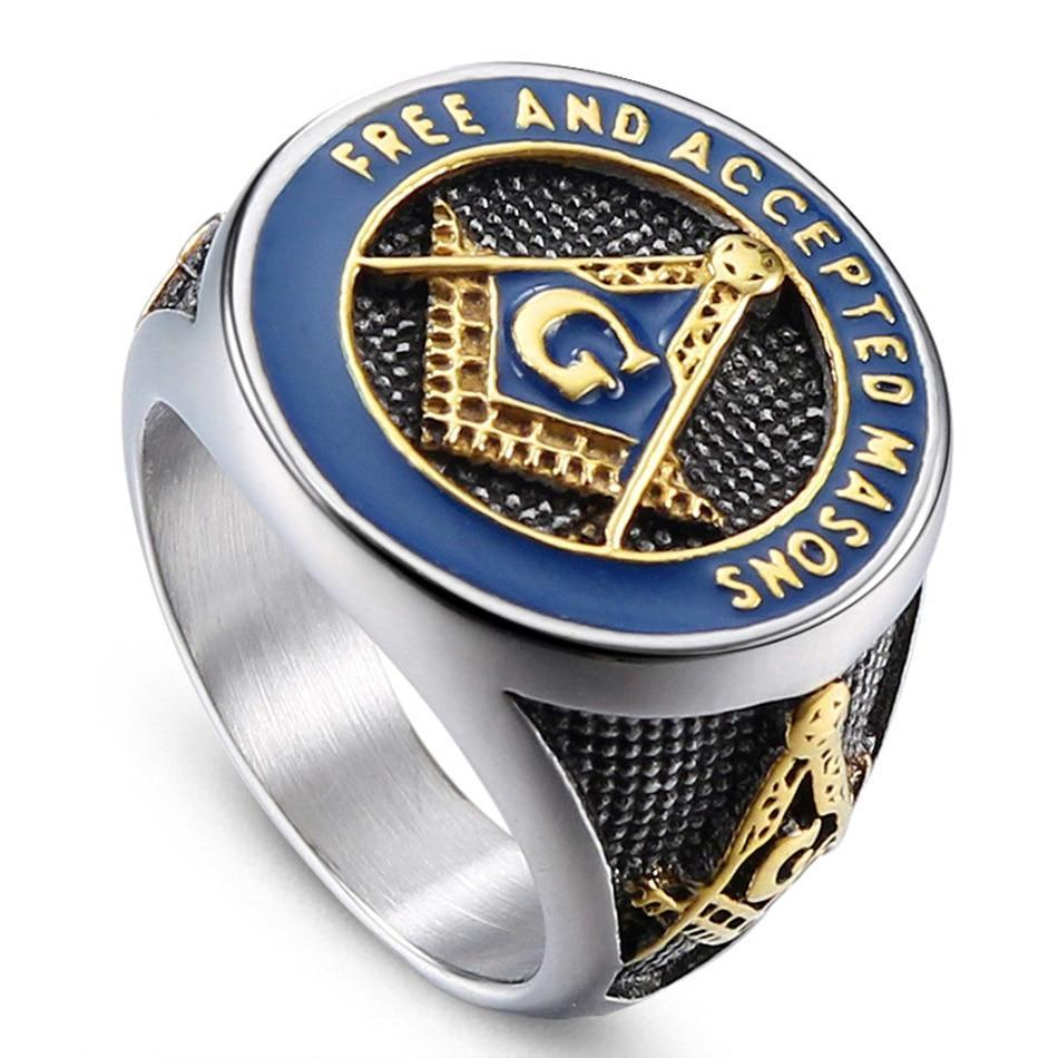 "Classic ""Free and Accepted Masons"" Masonic Stainless Steel Ring - Innovato Store"