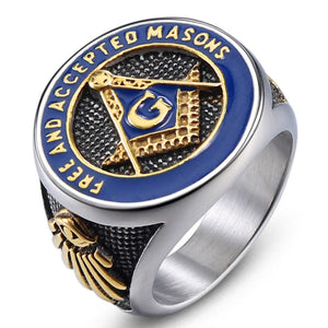 "Classic ""Free and Accepted Masons"" Masonic Stainless Steel Ring"