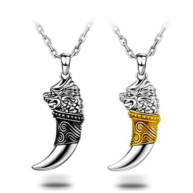 925 Sterling Silver Wolf Tooth Men's Pendant Necklaces - Innovato Store