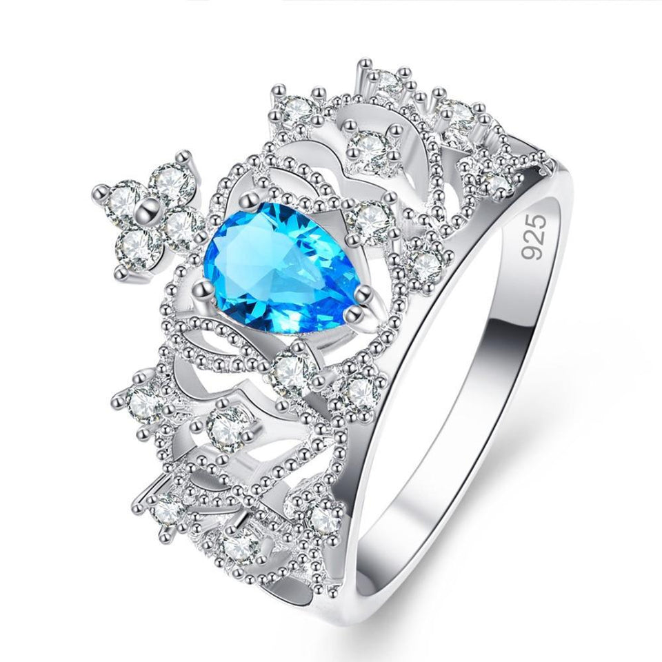 18K White Gold Plated Princess Crown Sea Blue and White Topaz Cubic Zirconia Unisex Princess Bridal Set Ring - Innovato Store