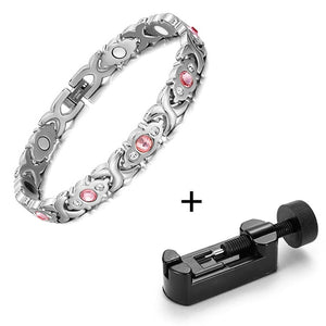 Silver & Pink Magnetic Stainless Steel Bracelet