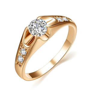 Rose Gold Toned Crystal Detailing Female Engagement Jewelry Wedding Band