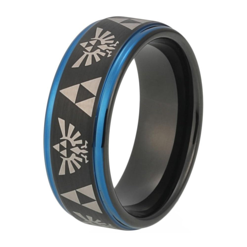 South American Symbols on Unisex Blue and Black Tungsten Wedding Band