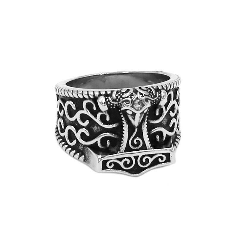 Silver and Black Toned Stainless Steel Unisex Tribal Wolf Celtic Knot Thor's Hammer Wedding Ring