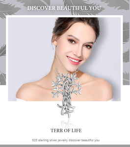 925 Sterling Silver Tree Of Life with Celtic Knot Cross Necklace
